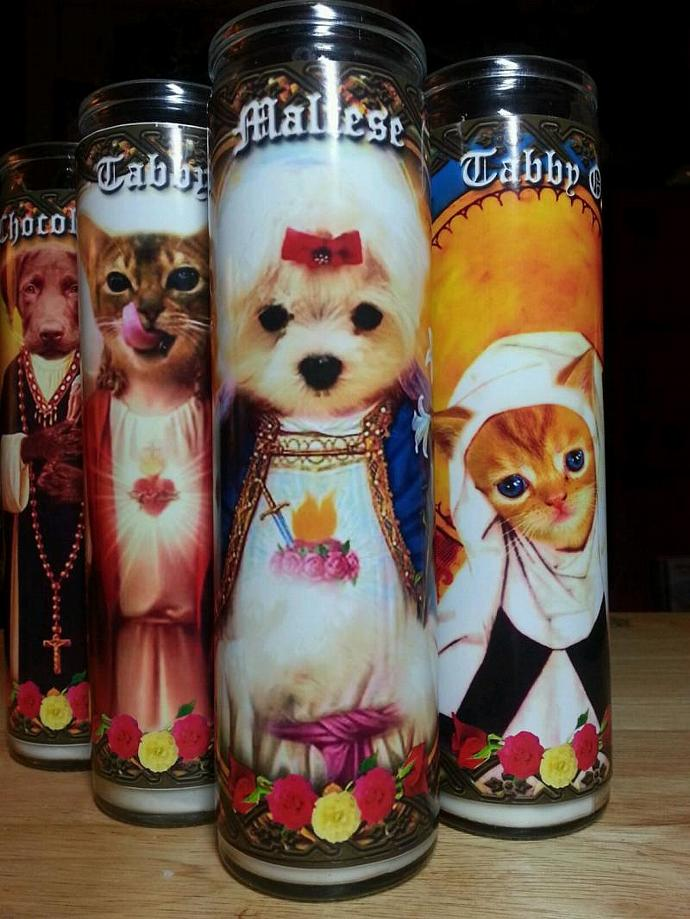 """8""""  Animal Dog Puppy Tribute Candle - Sainted White Maltese Puppy  - Portion"""