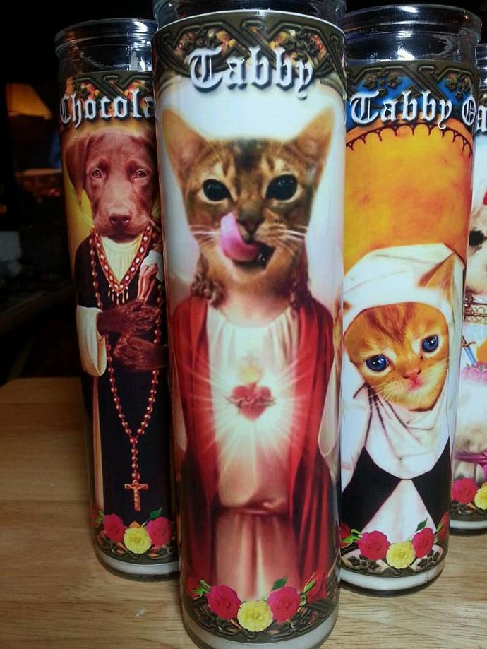 "8""  Animal CAT Kitty Tribute Candle - Sainted Tiger Tabby - Portion sale  goes"