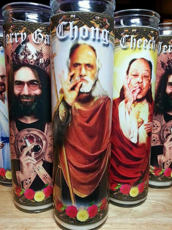 """8""""  Celebrity Tribute Candle - Tommy Chong - Pot Smoking Icon  - Heavenly"""