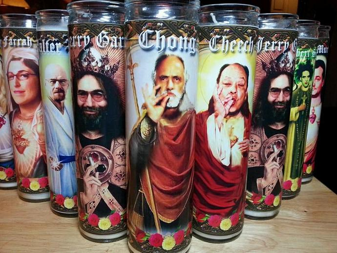 "8""  Celebrity Tribute Candle - Tommy Chong - Pot Smoking Icon  - Heavenly"