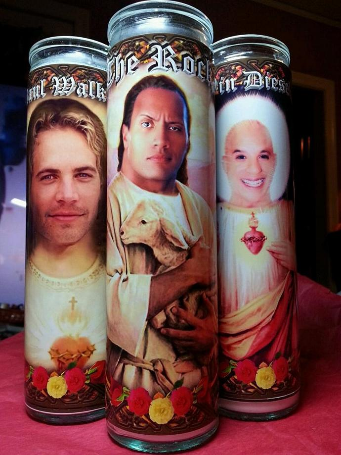 "8"" Celebrity Tribute Devotional Candle -  Dwayne Johnson - Fast & Furious  -"