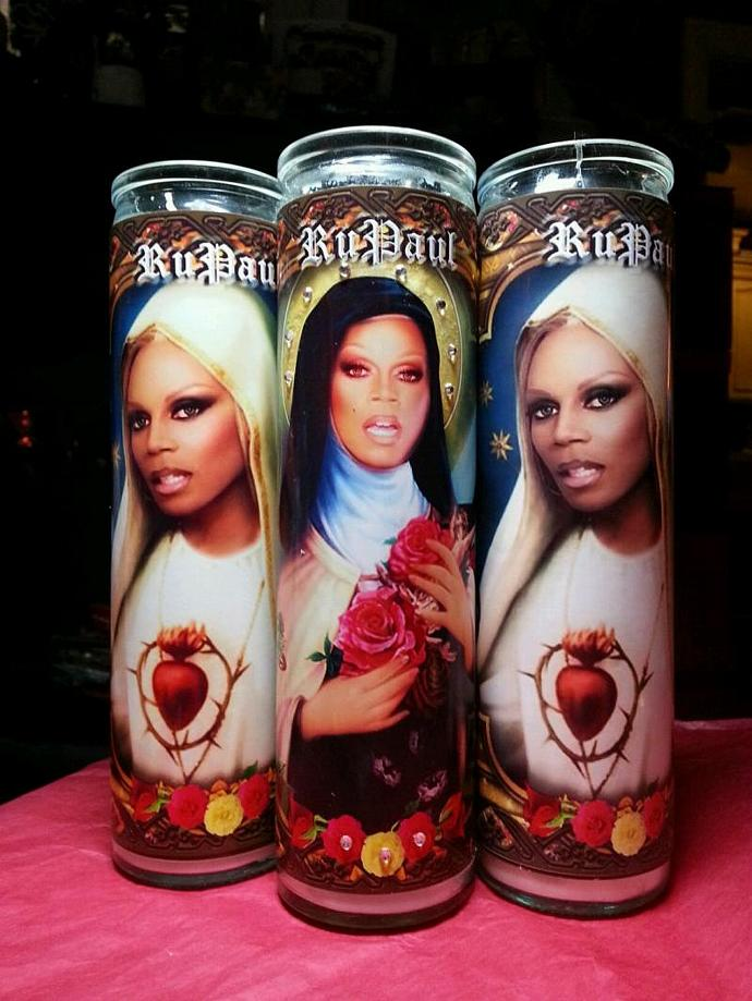 "8"" Celebrity Tribute Devotional Candle - Deluxe RuPaul w Rhinestones - Heavenly"