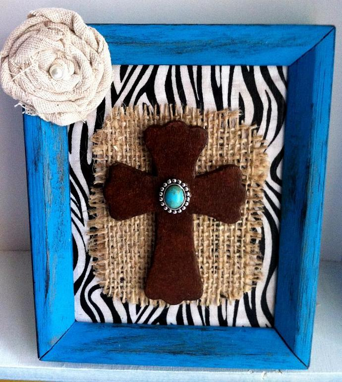 Turquoise Frame with Faux Leather Cross