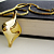 Vintage Gold Tone Polished Textured Large Pendant w Chain
