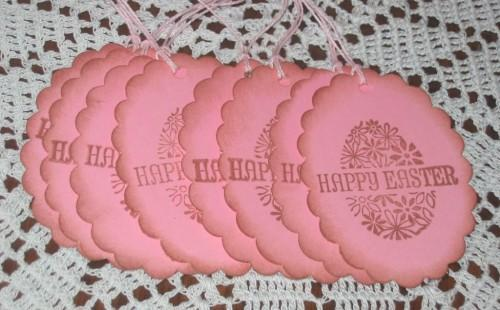 Happy Easter Egg Pink Hang Tags