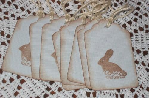 Chocolate Easter Bunny Pale Blue Hang Tags