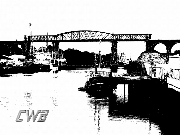 Boyne Viaduct fine art print in Black and White