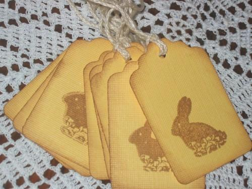 Chocolate Easter Bunny Yellow Hang Tags