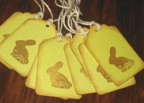 Chocolate Easter Bunny Chartreuse Hang Tags