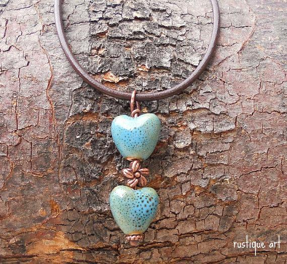 Womens Rustic Heart Necklace