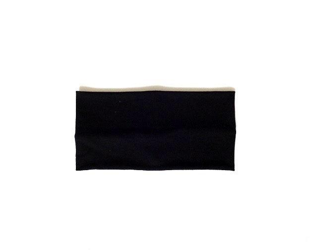 Black extra wide headband for exercise jersey large head band minimal sport