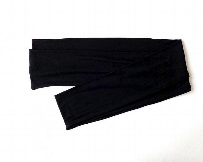 black head scarf jersey extra long head wrap head band hair loss head cover