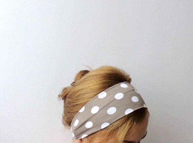 polka dot headband tan white workout headband wide sport head wrap mod hair band