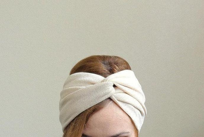 Beige twist headband turban retro vintage wide headband stretch jersey twisted