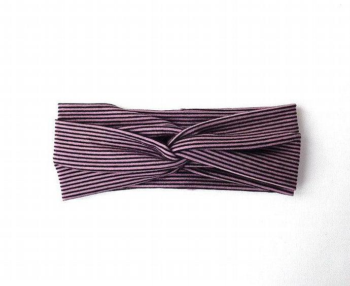 stripe twist headband black mocha turban retro vintage wide headband hair wrap