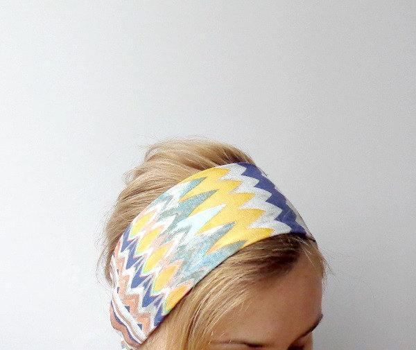 Boho headband ethnic head scarf chevron head wrap jersey head band cotton womens