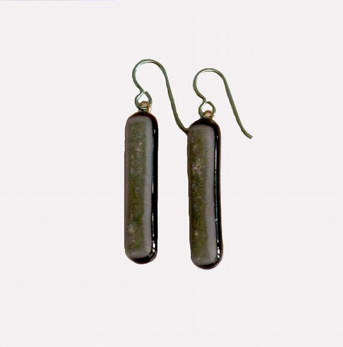 Earrings, Sage Green Sparkle Art Glass, Long Dangles with Green Niobium French