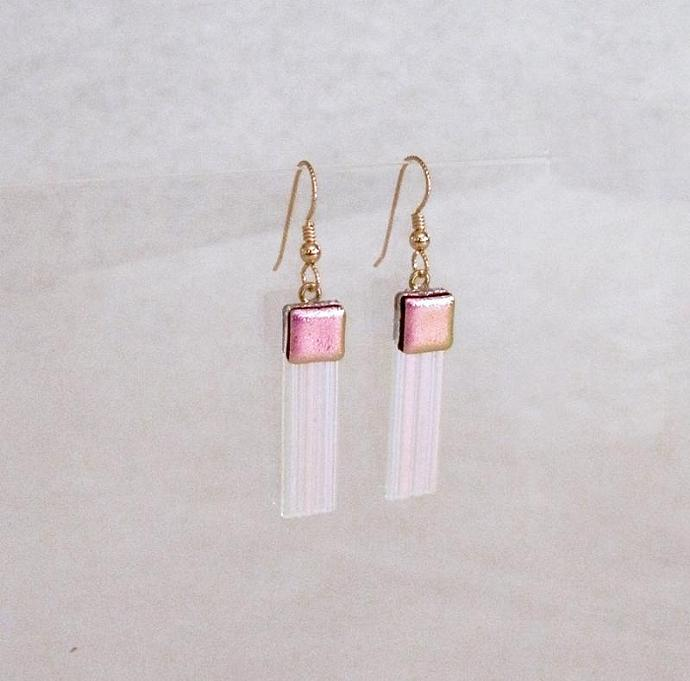 Earrings, Textured Purply Pink Sparkle Dichroic Art Glass, Long Dangles with