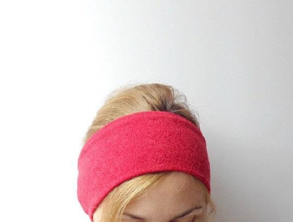 winter headband ear warmer red wide headband sweater knit stretch head wrap