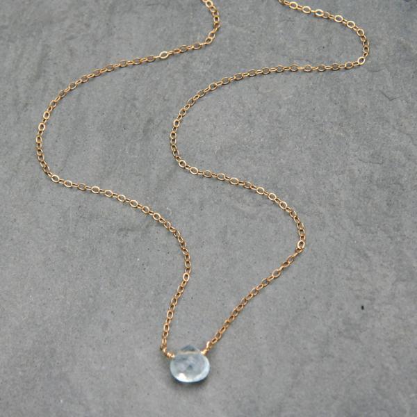 Mini Aquamarine & Gold Simplicity Necklace