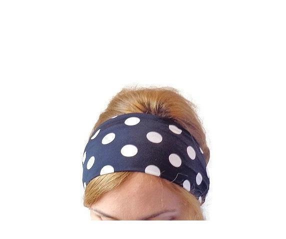 navy blue polka dot headband workout headband wide sport head wrap hair band