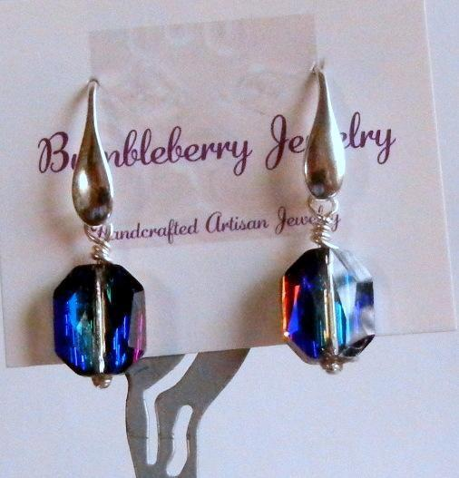 Rare Blue Crystal Swarovski Earrings, Solid Sterling Silver Earrings, Wedding,