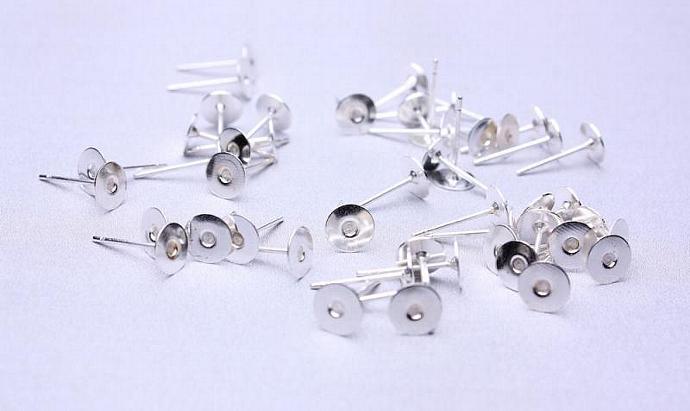 50 pc (25 pairs) 6mm earstud dark silver color findings flat pad nickel free