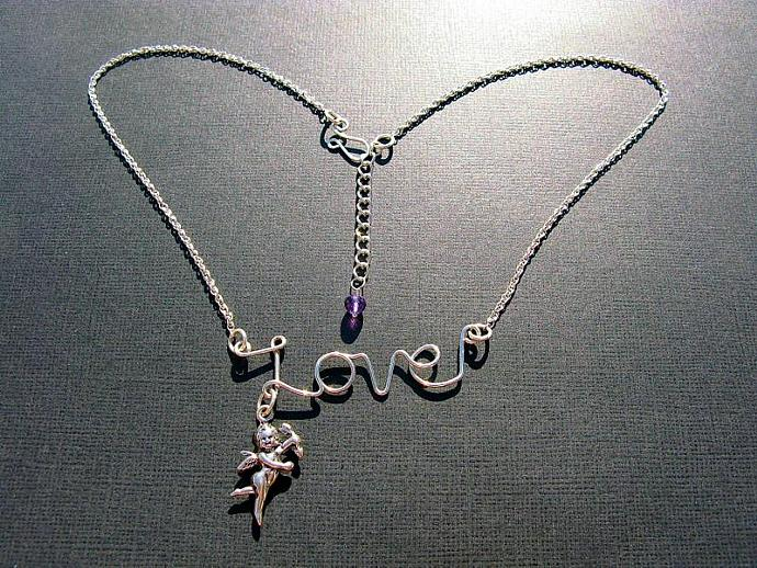 Silver LOVE Necklace, Cupid Charm, Sterling Silver, Choice of Gemstone,