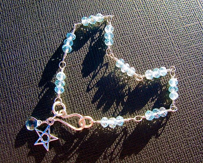 Sky Blue Topaz Bracelet, Wire Wrapped in Sterling Silver, December Birthstone,