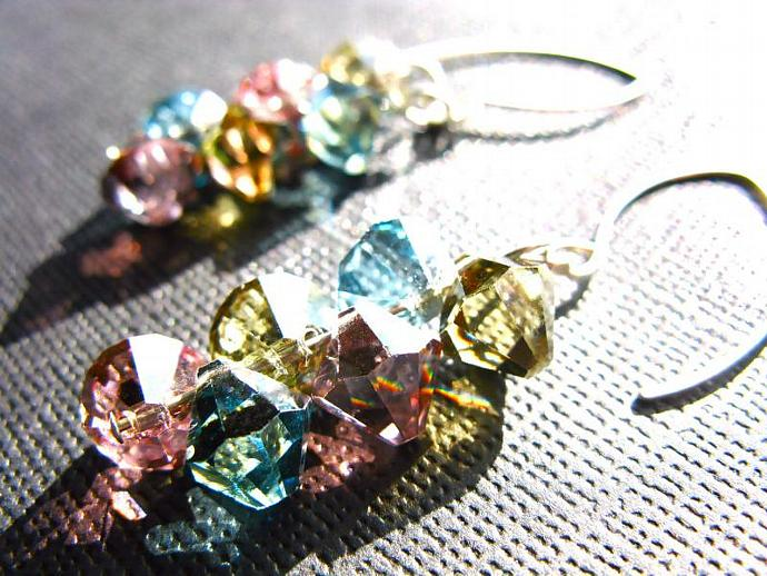 SALE! 20% OFF! Swarovski Crystal Earrings in Sterling Silver, Handmade, Pink