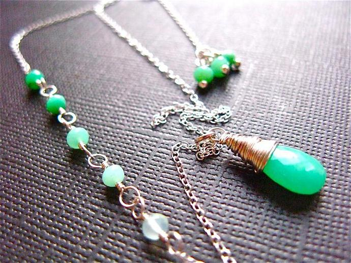 Ombre Chrysoprase Necklace in Sterling Silver, AAA Quality gemstones, Stunning