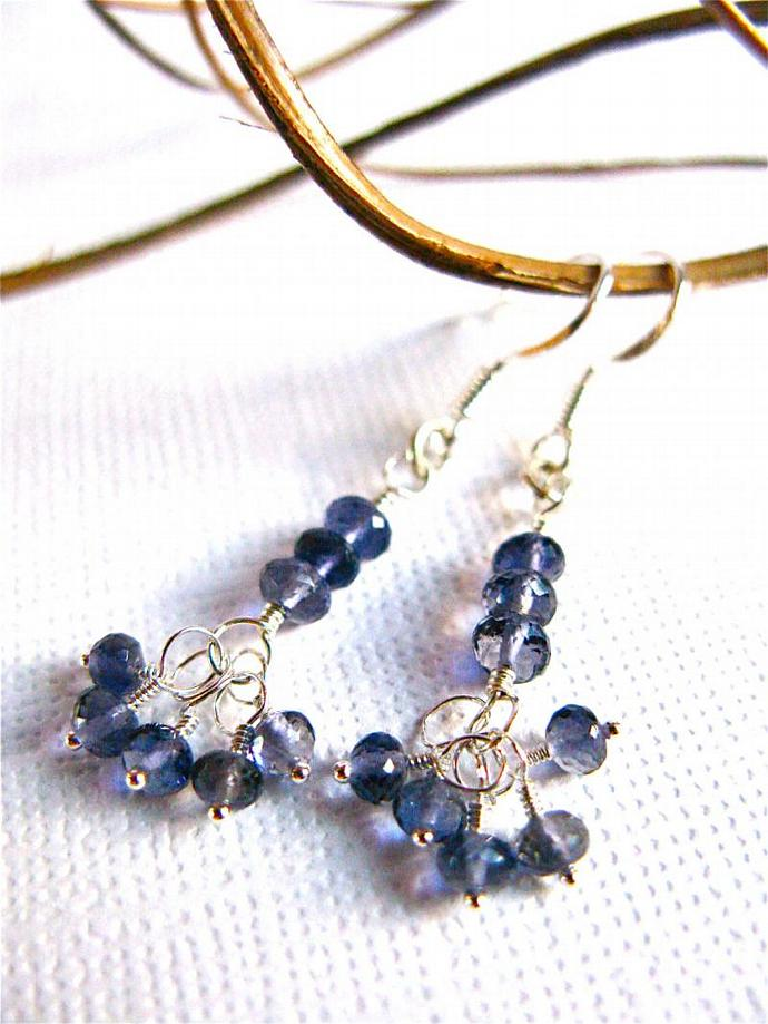 Iolite Earrings in Sterling Silver Wire Wrapped AAA Quality Gemstones, Semi