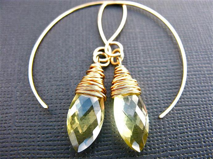 Lemon Quartz on Gold Fill Earrings, Wire Wrapped Lemon Quartz Marquise