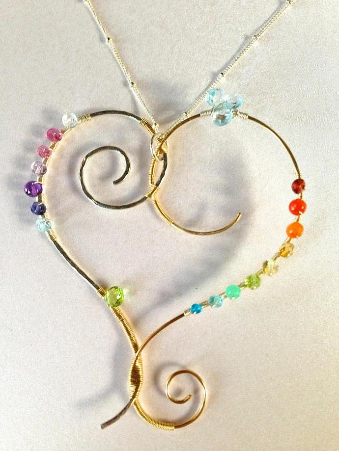 DNA: Rainbow Gemstone, Mixed Metals Wire Wrapped Heart Necklace, Sterling Silver
