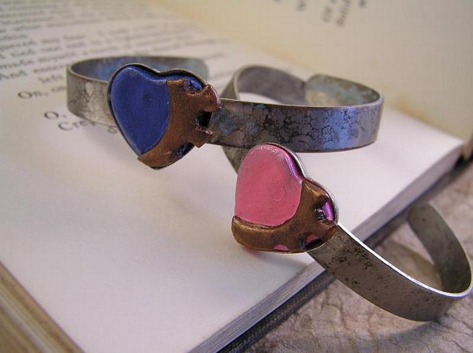 Blue Steampunk Cuff heart bracelet