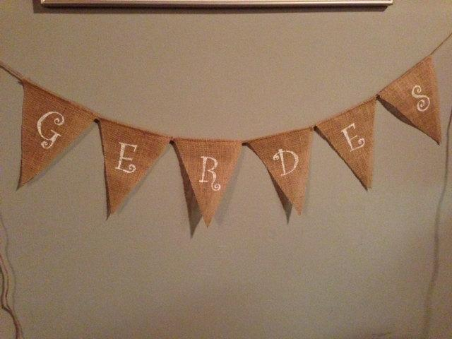 Custom Name Burlap Banner