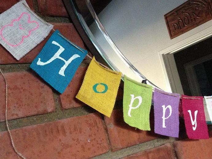 Hoppy Easter  --  Easter Burlap Banner / Garland