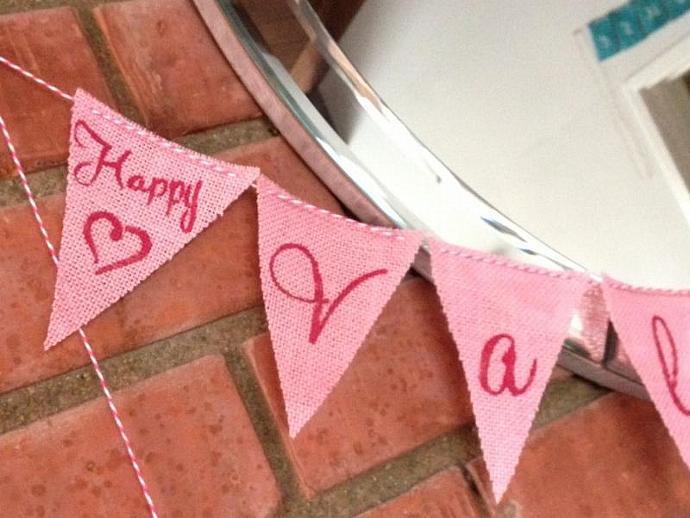 Happy Valentines Day --  Burlap Banner / Garland