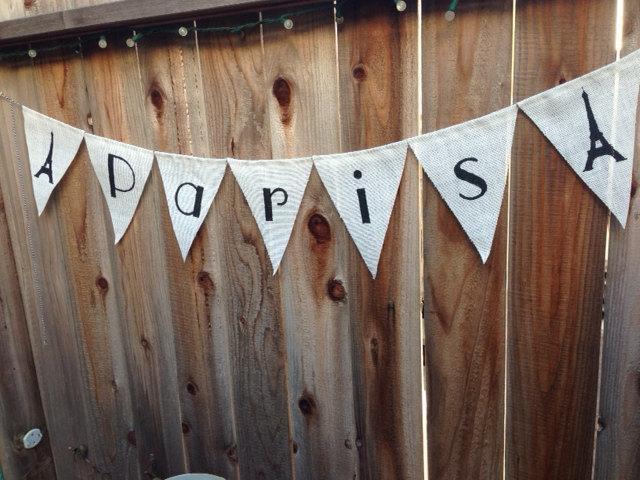"""White Burlap """"Paris"""" banner"""