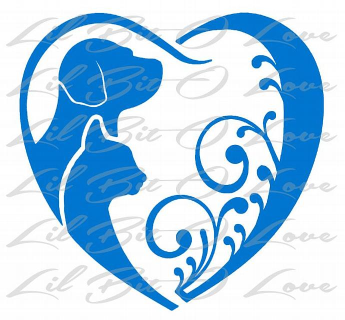 Cat and Dog Heart Pet Rescue Vinyl Decal sticker