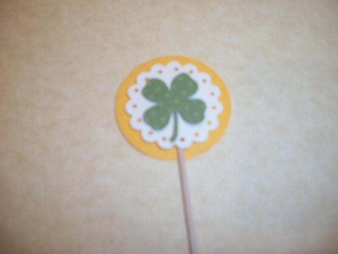 12ct 3D Yellow and Green 4 leaf clover / Irish Shamrocks cupcake toppers