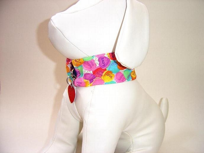Valentines Day Pet Collar Cover, a bandana alternative