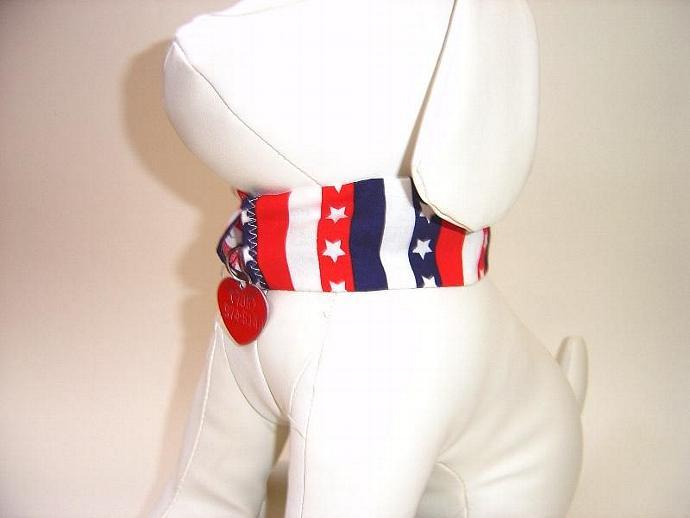 Patriotic Stripes Dog Collar Cover, a bandana alternative
