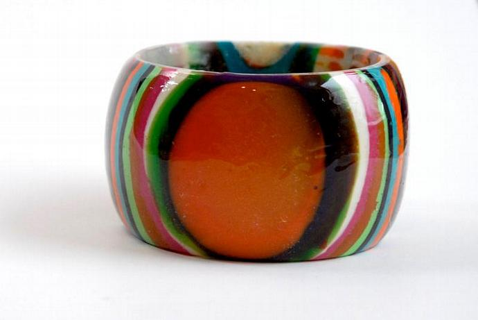 chunky bangle extra tall oranges yellows white blue greens vertical striped