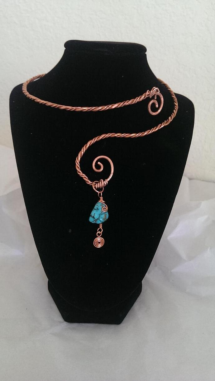 Twisted Charms Turquoise Collar/Earring Set