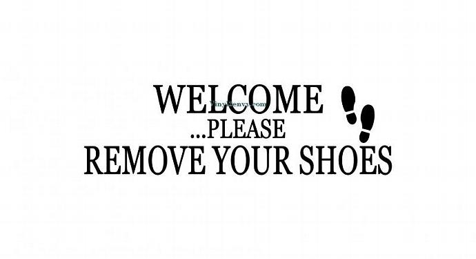 Welcome Please Remove Your Shoes Wall Decal  VinylEnvy - Custom vinyl wall decals logo   how to remove