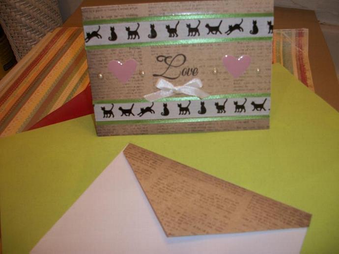 Handmade Kitty Cats LOVE card
