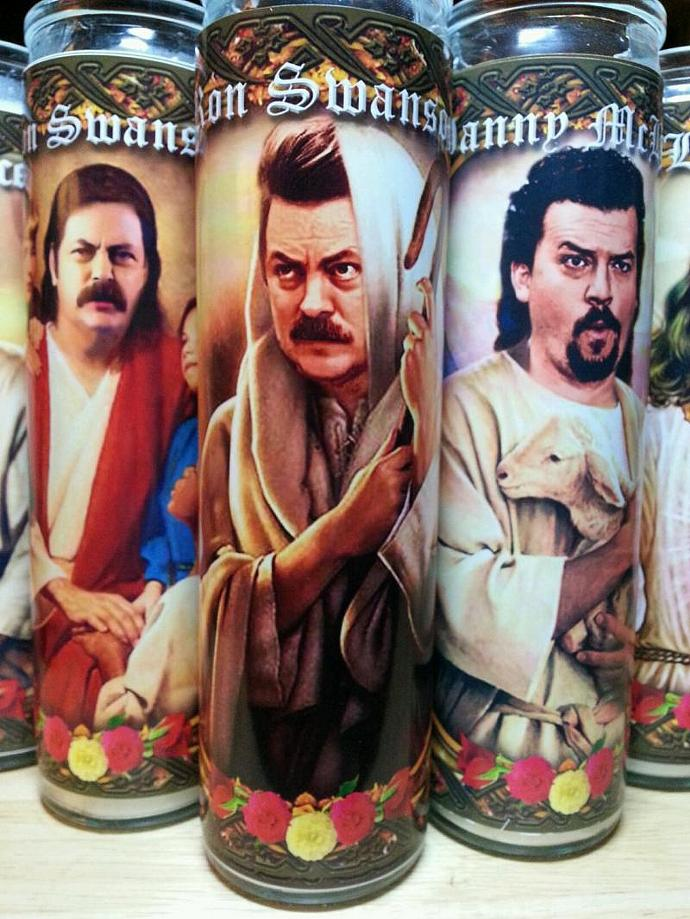 "8""  Celebrity Tribute Gods/Goddess Candle - Ron Swanson Parks and REcreation  -"
