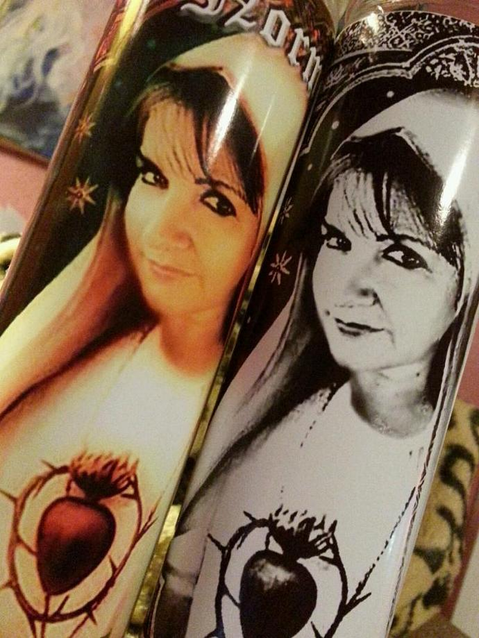"""8"""" PICTURE OF YOU  on a candle -  Artistic Tribute Devotional Candle - Prayer"""