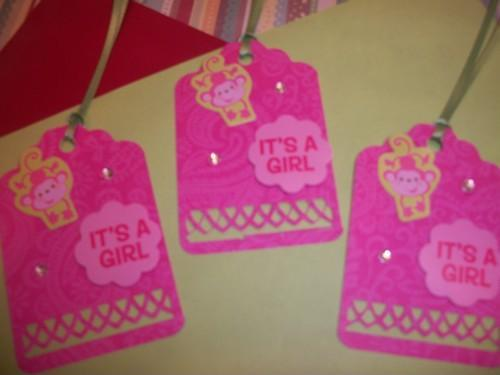 3D Its A Girl Pink monkey hang / gift tags
